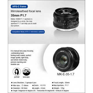 Lensa Meike 35mm APS-C F1.7 Manual Focus For Sony